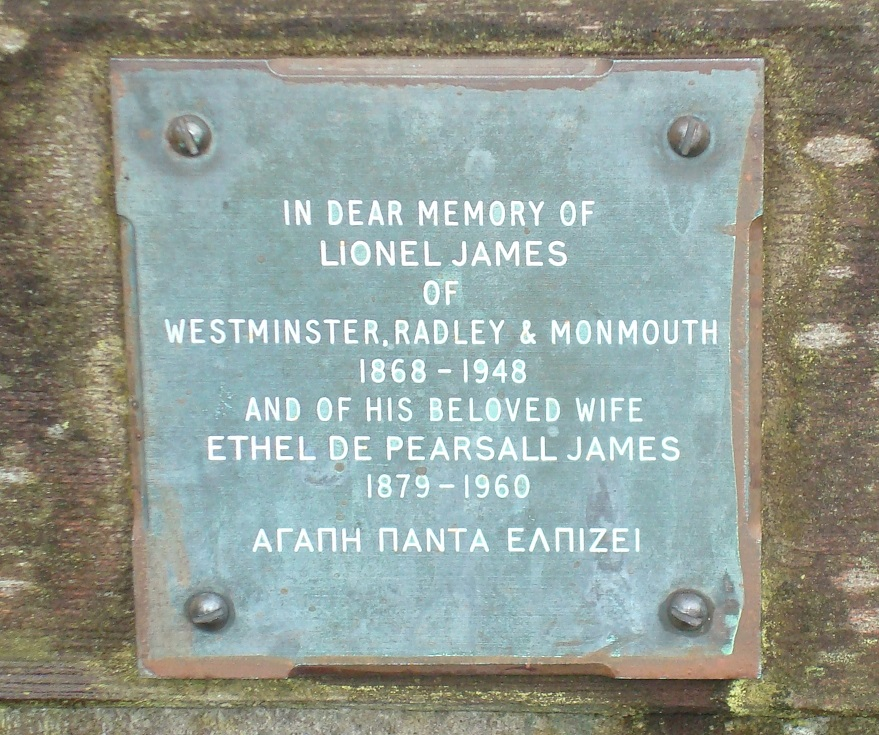 Plaque on the memorial bench at Buxted